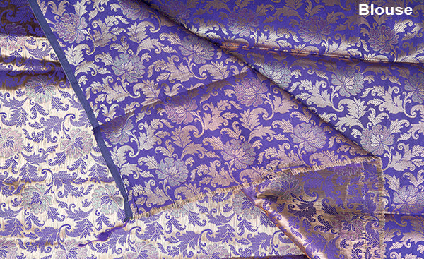 Purple Benarasi Blouse Material