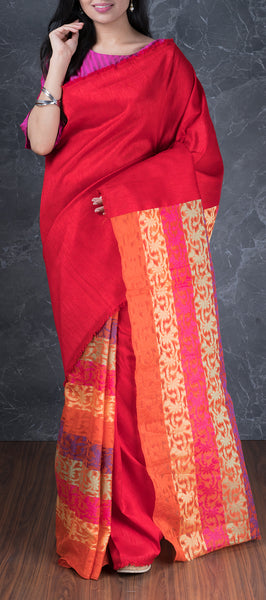 Red Jute Cotton Saree