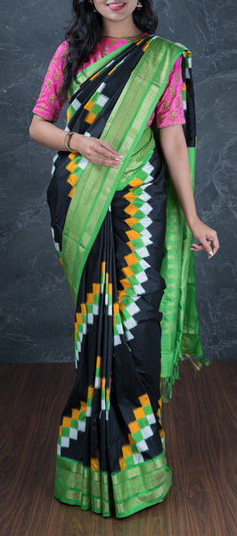 Black Pochampalli traditional Silk Saree