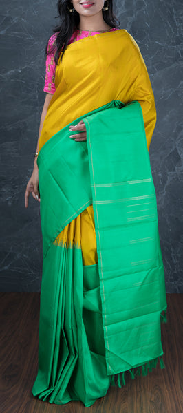Mustard Traditional Kanchipuram Silk Saree