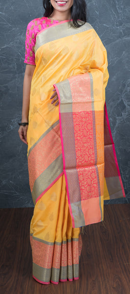 Mild Yellow Semi Benarasi Saree