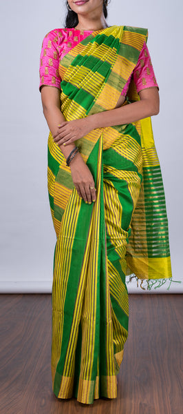 Green Jute Silk Saree with Stripes