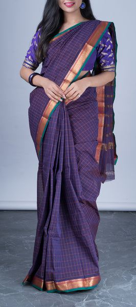 Purple Traditional Cotton Saree