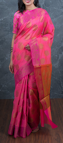Pink Semi Tussar Saree