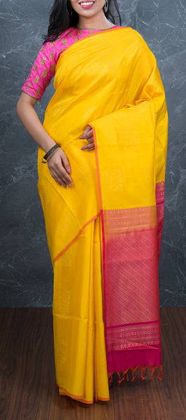 Borderless Yellow Soft Silk Saree