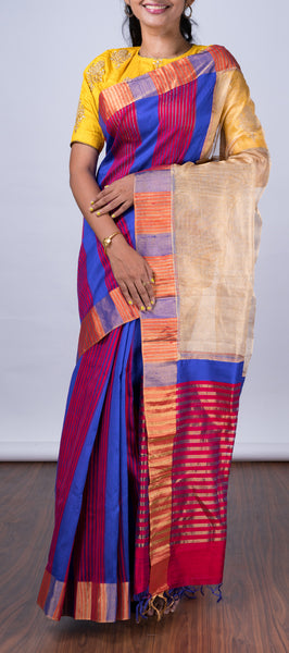 Dark Blue Jute Silk Saree