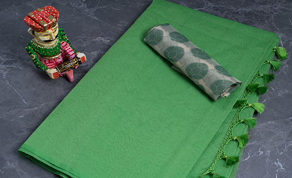 Parrot Green Jute Cotton Saree