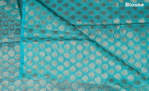 Turquoise Blue Blouse Material with Zari Jacquard Patterns