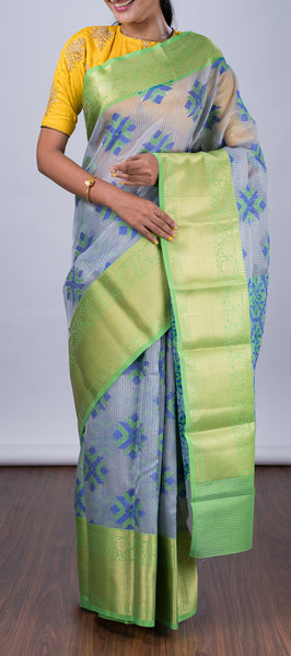 Ash Blue Semi Silk Cotton Saree
