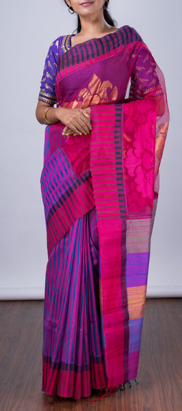 A Mix of Kora and Jute Silk Saree