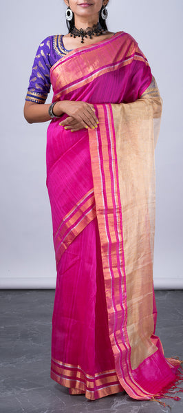 Pink Jute Silk Saree