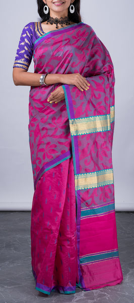 Purple Jute Silk Saree