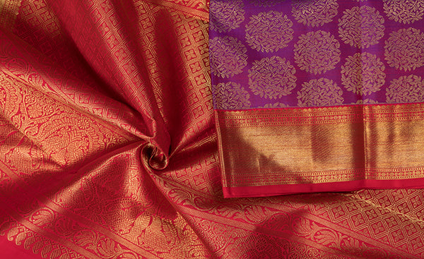 Purple Bridal Kanchipuram Silk Saree