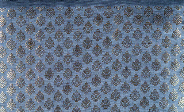 Grey Blouse Material with Zari Jacquard Patterns