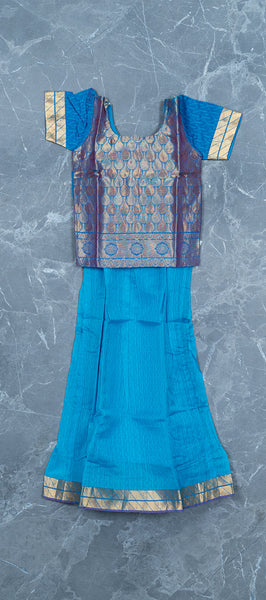 Sky Blue Silk Cotton Paavadai