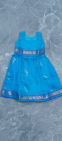 Navy Blue Silk Cotton Kids Gown