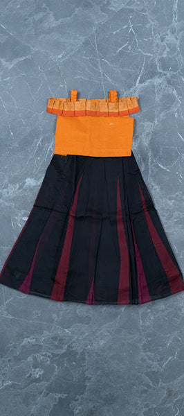 Orange Silk Cotton Kids Top & Skirt