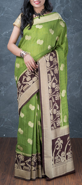 Pista Green Semi Jute Saree