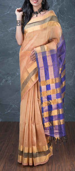 Beige Silk Cotton Saree