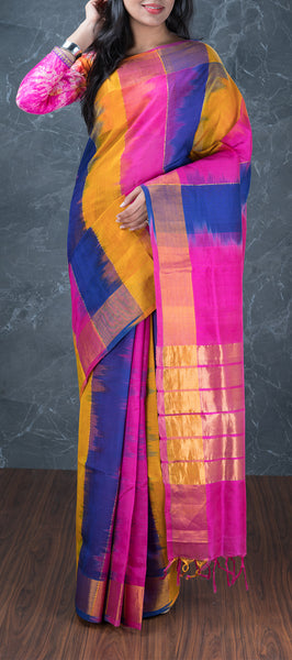 Multicolored Silk Cotton Saree