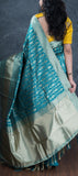 Teal Blue Semi Benarasi Saree