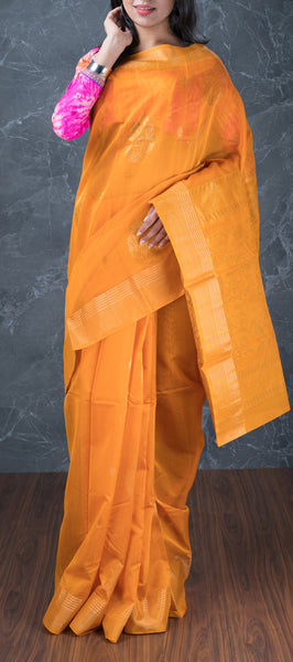 Orange Ethnic Silk Cotton Saree