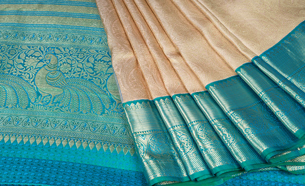 Beige Bridal Kanchipuram Silk Saree