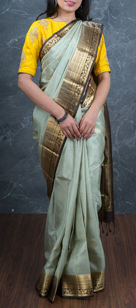 Pistachio Grey Lightweight Kanchipuram Silk Saree