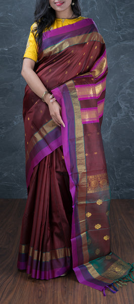 Brown Lightweight Kanchipuram Silk Saree
