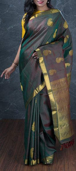Army Green Traditional Kanchipuram Silk Saree