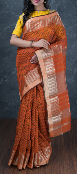 Burnt Orange Silk Cotton Saree