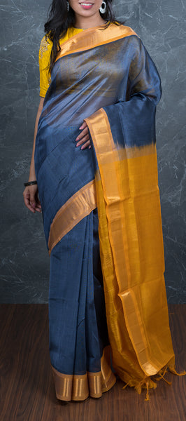 Traditional Grey Silk Cotton Saree