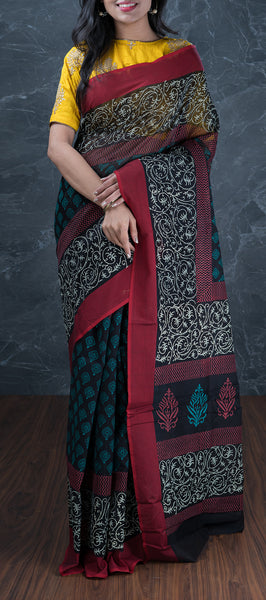 Black Silk Cotton Saree with Kalamkari Prints