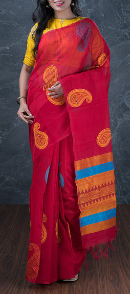 Red Borderless Silk Cotton Saree