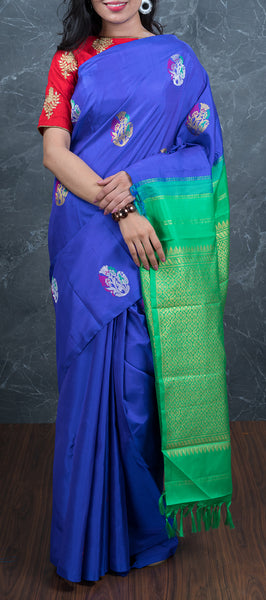 Royal Blue Borderless Kanchipuram Silk Saree