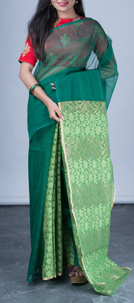 Dark Green Jute Cotton Saree