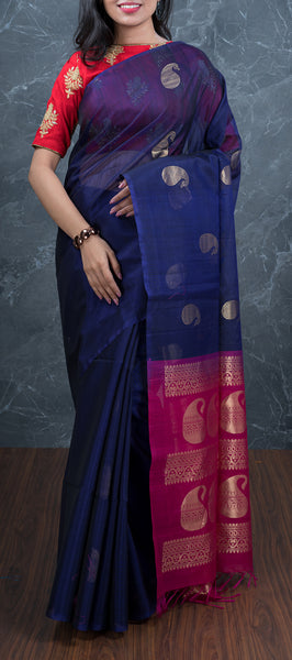 Ink Blue Borderless Silk Cotton Saree