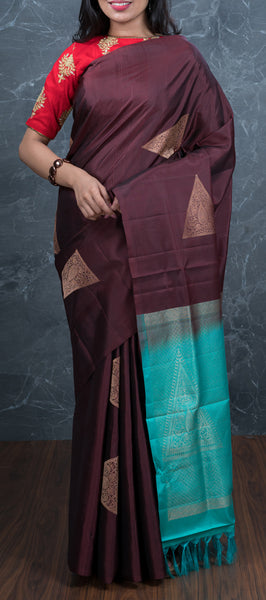 Borderless Maroon Softsilk Saree