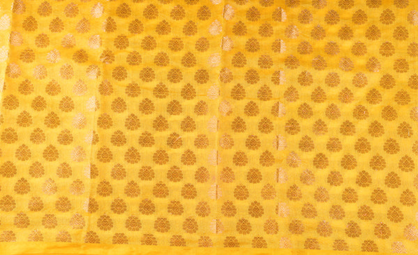 Yellow Blouse Material with Zari Jacquard Patterns