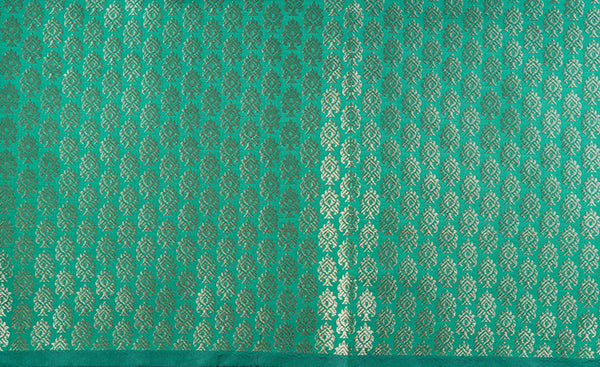 Green Blouse Material with Zari Jacquard Patterns