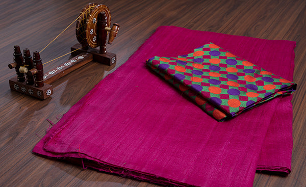 Pink Semi Raw Silk Saree