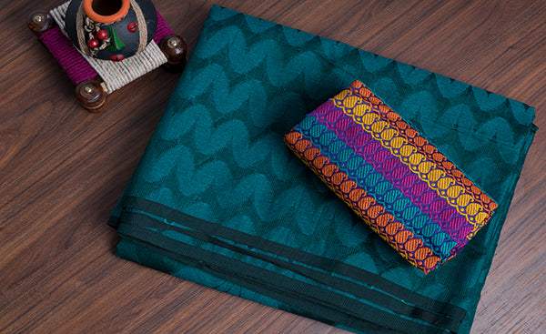 Teal Blue Jute Cotton Saree