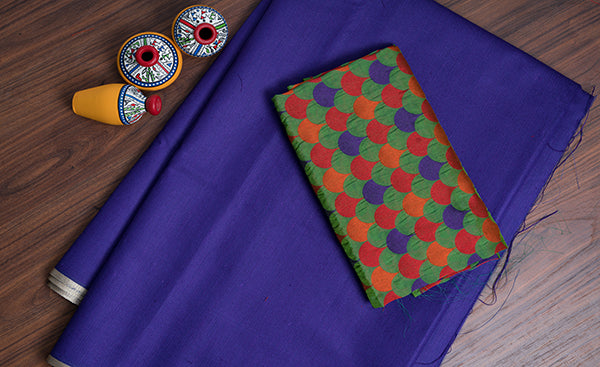 Dark Blue Jute Cotton Saree
