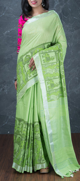 Pastel Green Semi Linen Saree