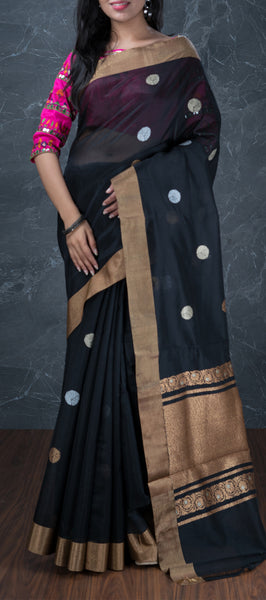 Black Semi Linen Saree