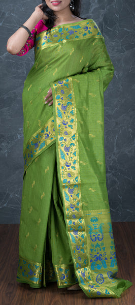 Green Semi Benarasi Saree