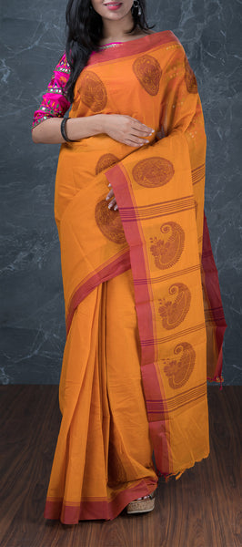 Ethnic Orange Cotton Saree