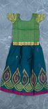 Green Silk Cotton Kids Paavdai ( 3-4 YEARS )