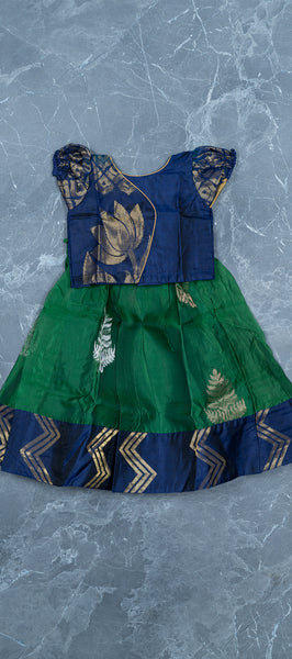 Dark Blue Silk Cotton Paavadai
