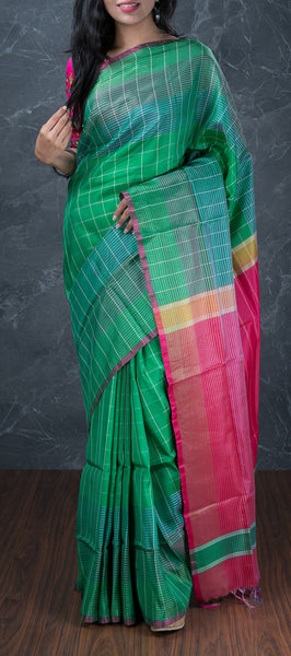 Shaded Green Semi Softsilk Saree with Checks